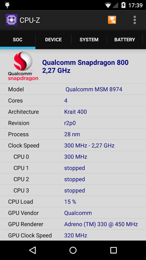 Скачать CPU-Z для Андроид
