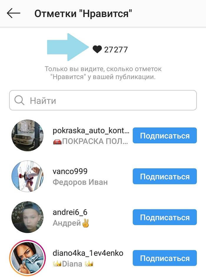 Как узнать количество Лайков в Инстаграм